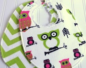 SALE - Owl Baby Bibs for Baby Girl  - Set of 2 Triple Layer Chenille  -  Pink & Green Owls and Chevron