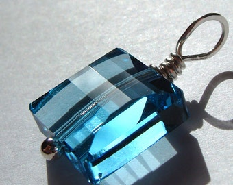 Square Aquamarine Blue Crystal Swarovski Crystal Pendant Wire Wrapped in Sterling Silver
