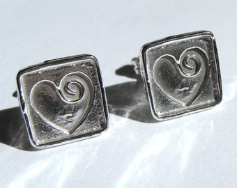 Heart Studs Valentine's Day Square Heart Studs Sterling Silver Earrings Valentine Jewelry Gift Small Post Earrings Stud Earrings