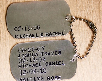 Hand Stamped Dog Tag Style Key Chain  - Personalized with Kids Names and Birth Dates - Personalized KeyChain - Gift for Dad or Grandpa