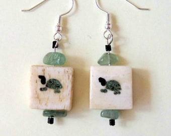 Jade Dangle Earrings with Turtles