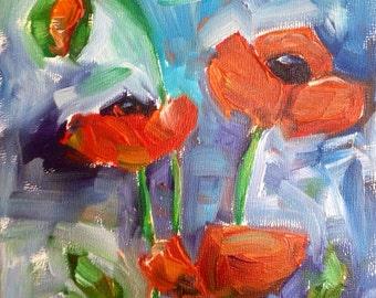 Poppies Monet summer poppy painting Original Oil summer Flower Garden 6x6 on board SALE