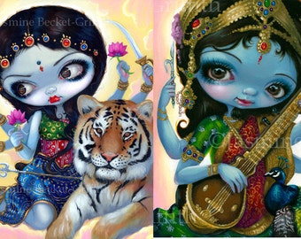 Durga and the Tiger & Saraswati Playing Veena Set of TWO 8x10 art prints by Jasmine Becket-Griffith SIGNED hindu indian
