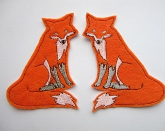 Fox patch - orange fox - set of 2 - patches - iron on patch - patch - embroidered patch - patches for jackets - sew on patch