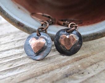 Heart Earrings, Copper Hearts, Copper Charms, Love Hearts, Rustic Hearts, Copper Jewelry, Heart Jewelry