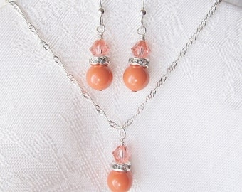 Set of 3 Summer Coral Necklace and Earrings Set with Swarovski Crystals and Pearls in Silver