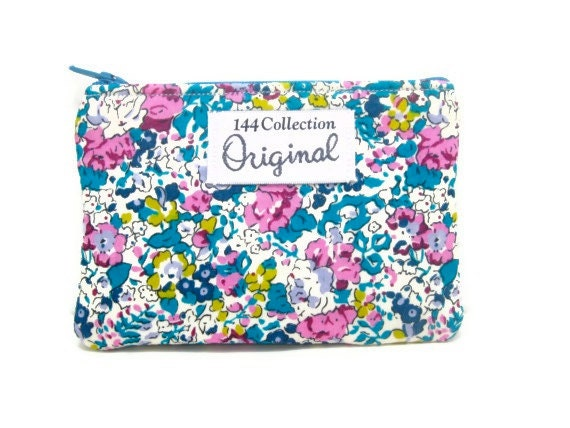 Coin Purse - Claire Aude Turquoise Floral Coin Purse Liberty of London Fabric
