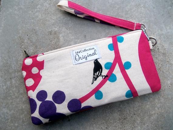 Wallet Wristlet - Big Berry Raspberry Echino Bird Wristlet Wallet