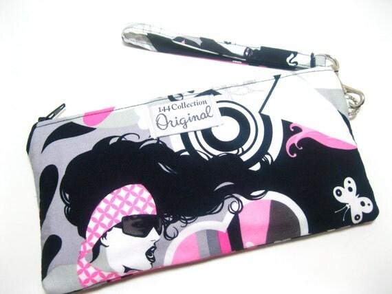 Wallet Wristlet - Inked Retro Pink/ Black Tattoo Girls Wristlet Wallet