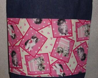 New Large Handmade Valentine Heart Kitty Cat Kitten Denim Tote Bag