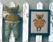 Primitive Cat Doll Pattern Needle Punch Needlepunch EPattern Punch Needle Embroidery Folkart Folk Art  by Hickety Pickety AS21