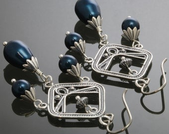 Sterling Silver Chandelier Earrings with Petrol Blue Pearl Drops and Titanium Ear Wires s13e057