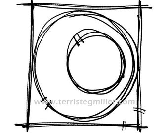 Thermofax Screen - Circle in Square 1
