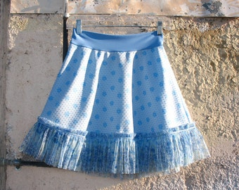 Forget Me Not Ruffled skirt Vintage Fabrics Sm only summer womens indie skirt upcycled clothing lace Baby Blue textured doubleknit polyester
