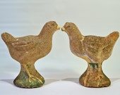 on HOLD - Great Pair of Vintage Cement Chicks - Bookends or Concrete Lawn Ornaments