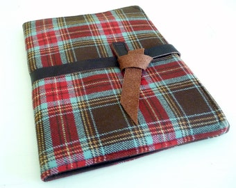 iPad 2 Cover Brown Plaid Wool with Leather tied closure, Book Style Case also fits iPad 3 and 4