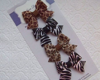 Wild Animals Petite Bow Set
