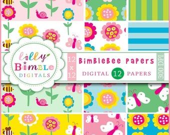 80% off Whimsical flowers, bees, butterflies, snails digital paper for scrapbooking, cards BIMBLEBEE paper pack Instant Download