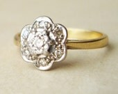 Art Deco Diamond Flower Ring, Antique Engagement Ring, Diamond Platinum and 18k Gold Wedding Ring Approximate Size US 5.75