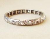 Vintage White Gold Diamond Eternity Ring, Diamond Engagement Ring, 9k Gold Diamond Ring, Approx. Size US 6.75