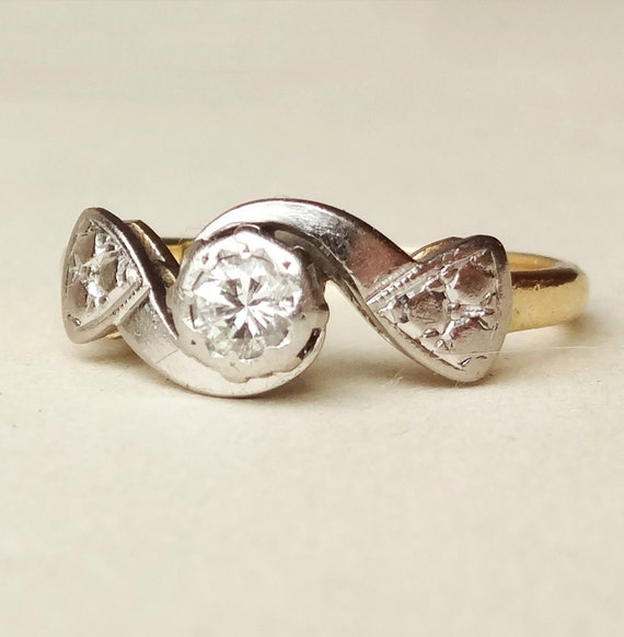 Retro 1960 s Geometric Diamond Solitaire Engagement by luxedeluxe