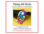 Peyote Bracelet Pattern ... PLAYING with BLOCKS ... Bold . Geometric . Modern Art . Colorful . Wide . Squares . Rectangles . 3 for 2