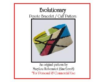Peyote Bracelet Pattern ... EVOLUTIONARY . Cuff . Modern Art . Abstract . Bold . Colorful . DIY . Beadweaving . PDF . 3 for 2