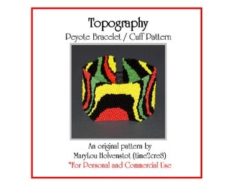 Peyote Bracelet Pattern ... TOPOGRAPHY ... Retro . Movement . Abstract . Modern . Wide Cuff . Beadweaving . Multicolor . 3 for 2