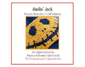 Peyote Pattern ... SMILIN' JACK ... Bracelet Pattern . Halloween . Pumpkin . Holiday . Orange . Jack-O-Lantern . Smile . Happy . 3 for 2