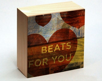 """Valentines Decor- Valentines Day Gift for Him- Valentines Day Sign- Heart Decor- Beats for You Art Box- 4"""" x 4""""- Anniversary Gift- for Wife"""