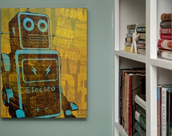 "Retro Robot Art Print Box- Kid Decor- Song of Wires Sci Fi Wall Art- 16"" x 20"" Robot Wall Decor for Dad- Kids Room Decor Gift for Husband"