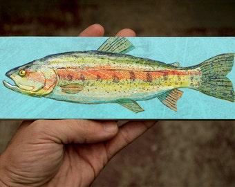 "Fishing Gift- Medium Freshwater Fish Art Block- Rainbow Trout Print- 9"" x 3"" Fish Wall Decor Fisherman Gift for Dad- Gifts- Lake House Print"