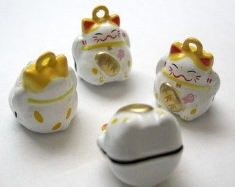 4 Fortune Cat Bell Pendant Charms Yellow
