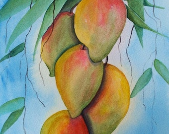SALE Mango 'Aina ORIGINAL Watercolor Hawaii Tropical Fruit Painting by Melanie Pruitt EBSQ