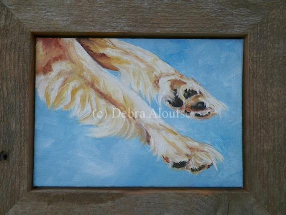 Dog Paws Original Oil Painting Golden Retriever Canine Animal Art by Artist debra alouise