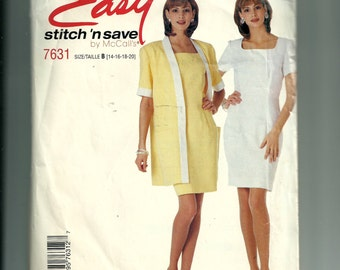 McCall's Misses' Unlined Jacket and Dress Pattern 7631