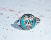 Blue Dia la muertos Ring (Day of the Dead)