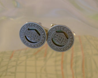 City With a Heart - Vintage Authentic Elkhart Indiana Transit Token Cufflinks, Man Gift, Groomsman Gift, Wedding Gift