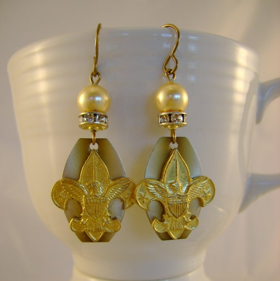 Be Prepared - Vintage Boy Scout Fleur De Lis Pins Watch Dial Rhinestones Recycled Repurposed Earrings