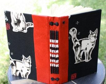 HAIKU CAT Blank Book Art Journal Beaded Rustic Red Leather Black Fabric
