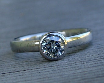 Moissanite Ring - 950 Palladium Engagement, Wedding, or Right Hand Ring - Simple Solitaire, Eco-Friendly Diamond Alternative - Made To Order