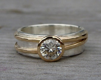 Moissanite Engagement or Wedding Ring with Recycled 14k Yellow Gold and Recycled Sterling Silver - Forever One G-H-I - Made to Order