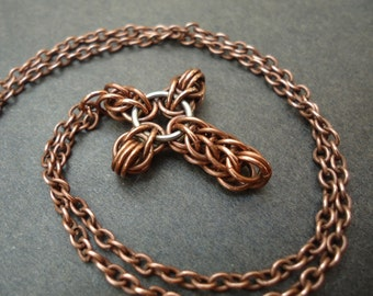 Antiqued Copper and Sterling Silver Cross Necklace