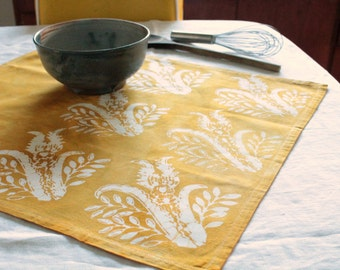 mustard yellow thistles towel