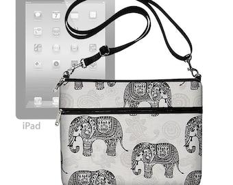 Elephant iPad Air 2 Case iPad Sleeve iPad 1 2 3 4  Carrying Bag Crossbody  Bag Crossbody Purse adjustable strap Paisley Gray Black MTO