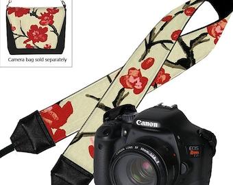 Dslr Camera Strap Slr Digital Camera Padded Strap Nikon Canon -  Asian Cherry Blossom pink red black MTO