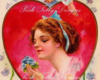 1900s Victorian Valentines Vintage Postcard Digital Download Printable Image (PC14)