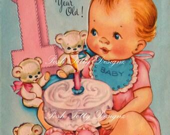 Happy Birthday One Year Old Vintage Digital Download Printable Images (368)