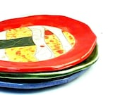 Four small dinner plates IN STOCK - pottery lunch dishes - handmade ceramic dinnerware for four - Fiesta Colors pottery and ceramics,