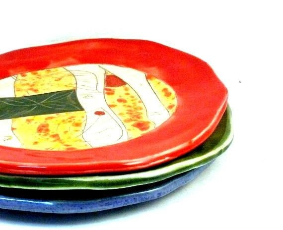 Four small dinner plates IN STOCK - pottery lunch dishes - handmade ceramic dinnerware for four - Bright Colors pottery and ceramics,